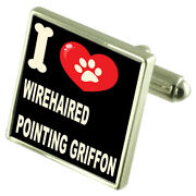 Silver 925 Cufflinks And Bond Money Clip - I Love Wirehaired Pointing Griffon