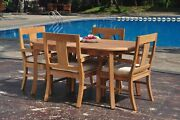 Dsos A-grade Teak 5pc Dining Set 94 Oval Table 4 Arm Chair Outdoor Patio