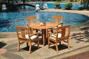Dsos A-grade Teak 5pc Dining Set 48 Round Butterfly Table 4 Arm Chair Outdoor