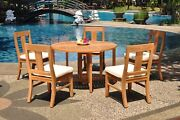 Dsos A-grade Teak 6pc Dining Set 48 Round Butterfly Table 5 Armless Chair Patio