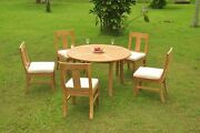 Dsos A-grade Teak 6pc Dining Set 52 Round Table 5 Armless Chair Outdoor Patio
