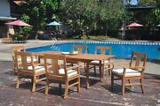 Dsos A-grade Teak 7pc Dining Set 94 Rectangle Table 6 Arm Chair Outdoor Patio