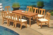 Dsos A-grade Teak 9pc Dining Set 71 Rectangle Table 8 Armless Chair Outdoor