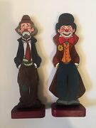 One-of-a-kind Hand Painted Happy/sad Tramp Clowns Wooden Book-ends