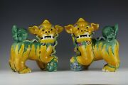 A Pair Of Chinese Porcelain Foo-dog Yellow Glazed Statues Sculptures