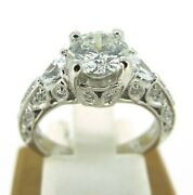 1.59 Ct Tw Diamonds Round And Pear Cut 14k White Gold Engagement Ring Size 5