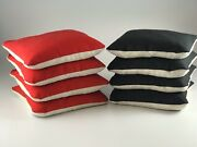 Set Of 8 Dual Side Slick And Stick Cornhole Bags Red And Black Free Shipping