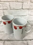 2 Starbucks Coffee Cup Mug 2012 Christmas Holiday String Of Red Ornament Collect
