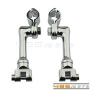 Chrome Longhorn Offset Footpeg Clamps Mount For 1and039and039 1 1/4and039and039 1 1/8and039and039 Engine Guard