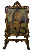 Period Gilt Tapestry Fire Screen Sir Edwin Henry Landseerandrsquos Dignity And Impudence