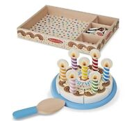 Melissa And Doug Birthday Party Pretend Play Cake Wooden Food With Toppings Md-511