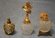 Ral Set Of 3 Collectible Old Clear Stone Ground Crystal Perfume Bottles
