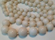 Antique White Coral Beads Chinese Angel Skin Old Necklace 62.6 Gram M715