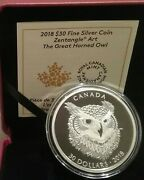 2018 Great Horned Owl Zentangle Art 30 2oz Silver Proof Coin Canada Mintage4000