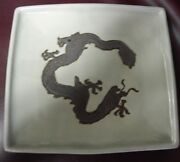 Rare Signed Antique Carved Dragon Green Square Plate With Stamp