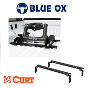 Blue Ox Superride 20k 5th Wheel Hitch Slider And Curt Universal Bed Rail Kit Combo