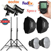 Us 2x Godox Sk400ii 400w Flash + Trigger For Canon + 95cm Grid Softbox Stand Kit