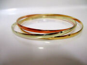 20 K Yellow Solid Gold Handmade Rose White Rhodium Color Bangle Womenand039s Bracelet