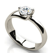 18ct White Gold Solitaire Diamond Wedding Ring 0.50 Ct Vs1 Clarity H Color