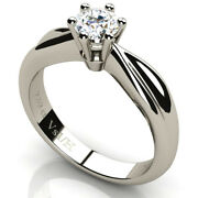 Engagement Diamond Solitaire Ring 18k White Gold 0.50 Ct Vs1 Clarity H Color New