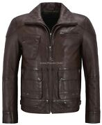 Menand039s Biker Leather Jacket Brown Double Layered Collar And Zip Real Leather M-139