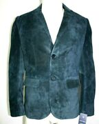 New Allan Tailored Fit Smart Look Style 2 Button Blue Navy Suede Leather Coat
