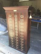 Antique Amberg Patent Filing Walnut File Letter Cabinet M.ohmers Son 36 Shelfs