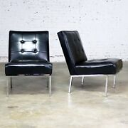 Paoli Chair Co. Black Naugahyde Chrome Mcm Slipper Chairs Style Florence Knoll