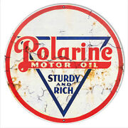 Polarine Motor Oil Reproduction Vintage Looking Metal Sign 18x18 Round Rvg908-18