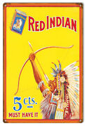 Red Indian Cigargette Reproduction Large Cigar Metal Sign 16x24