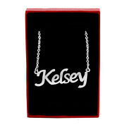 Kelsey Name Necklace Silver Tone | Birthday Wedding Personalized Gifts For Her