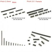 2.0mm Double Row Straight Female/male Pin Header 2x2p/3/4/5/6/7/8/10/12/20/40p