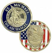 St. Michael The Archangel Police Challenge Coin In Bronze Style