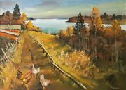 Warm Autumn Over The Lake Chickens Painting By Mark Kremer B.1928 Original O