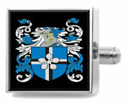 Mant England Heraldry Crest Sterling Silver Cufflinks Engraved Message Box