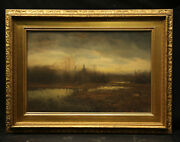 19th Century American Landscape With Pond And Trees Pastel On Paper