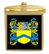 Milson England Family Crest Surname Coat Of Arms Gold Cufflinks Engraved Box