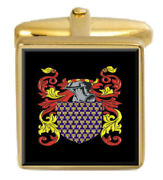 Attfield England Family Crest Surname Coat Of Arms Gold Cufflinks Engraved Box