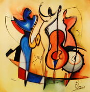 Jazz Trio By Alfred Gockel Fine Art On Canvas Abstract Music