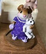 Wee Forest Folk Special Color Le Bunny Slippers Figurine M218 Purple White Bear