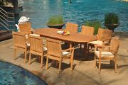 Dslv A-grade Teak 9pc Dining Set 94 Oval Table 8 Stacking Arm Chair Outdoor