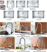 Stainless Steel Undermount Single Bowl Kitchen Apron Farm Sink / Faucets