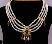 22k Yellow Gold Peacock Enamel Beautiful Colored Stone Necklace Set Earring