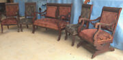 Living Room Suite Vintage 1940s 5 Pc Mahogany Original Fabric And Casters