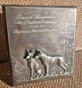 Wmf Cigarette Or Trinket Box Glass And Pewter W/ Dogs 1906 Original Sale Price
