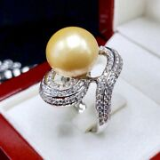 14mm Golden South Sea Pearl Diamonds 18k Solid White Gold Ring Natural Australia
