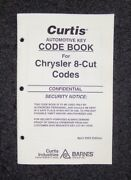Curtis Automotive Key Code Book For Chrysler 8-cut Codes M