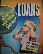 C. 1950 Loans To Clean Up Old Bills Start The New Year Fresh Advertising Poster