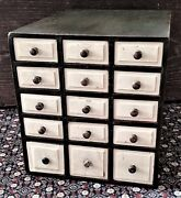 Small 15 Drawer Chest, Apothecary, Spice, Storage, Beveled Drawers, Green, 14t