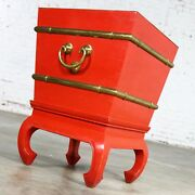 Chinese Red Lacquer And Brass Side Table Removable Ice Chest Style Hoof Foot Base